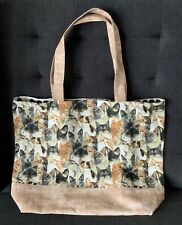 NEW HANDMADE Large Cotton Shopping Shoulder Tote Bag Lined Awesome Cats Pattern