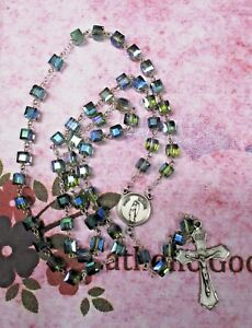 8 mm  Glass Crystal Cube Faceted Beads - St. Gabriel Center - Pewter Rosary