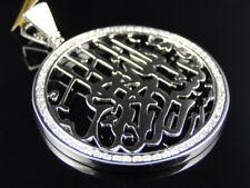 Religious Diamond Pendant Charm Medallion Solid White Gold Bismillah Islamic