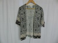 Chico's Women's Printed Open Front Cardigan Sweater Cotton Blend Size 1 Medium