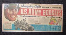 "1940's Cherrios U.S. ARMY GOGGLES Mail-Away Ad 14x6.5"" VG/FN 5.0"