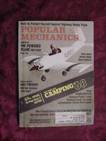 POPULAR MECHANICS May 1968 CAMPING VW powered plane Olds F-85 Ford Mustang