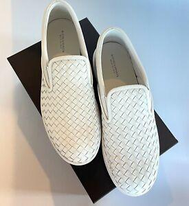 Bottega Veneta Men's White Leather Intrecciato Slip On Loafers, 190809, 45