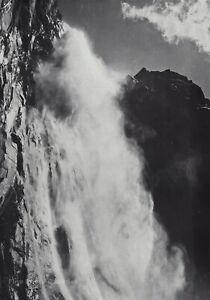 1959 Vintage ANSEL ADAMS Ribbon Fall Yosemite Valley Landscape Photo Art 11X14