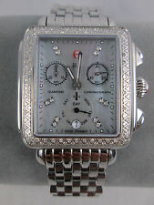 Michele Large Deco Diamond Grey Blue MOP Ladies Watch MW06P01A1064 Refurbished