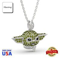 Baby Yoda Necklace Crystals Pendant with Link Chain The Child Mandalorian