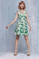 Anthropologie Emma Dress By Maeve Green Floral Fit + Flare Size Sz 8