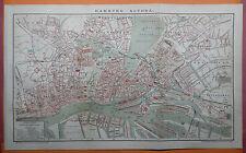 Hamburg Altona St. Pauli Alster Steinwärder Hafen Stadtplan 1895 mit Register