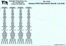 Verlinden Productions 1:35 German WWII Tank Interior Stencils Decal #2153