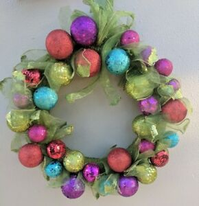 XMAS WREATH colourful sequin glitter baubles W ribbon - FREE EXPRESS POST !!!