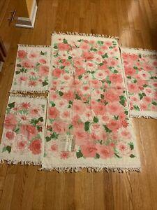Cannon Royal Family Vintage 4pc  Bath Towel Set  Pink Floral On White Cotton New