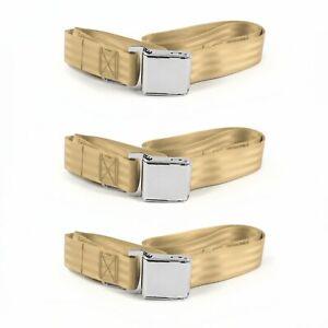 Mercury Eight 1949 - 1951 Airplane 2pt Tan Lap Bench Seat Belt Kit - 3 Belts rod