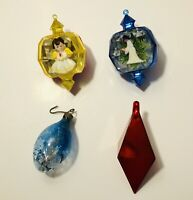 Vintage Lot Of 4 Christmas Diorama Ornaments Angels Light Bulb & Red Diamond