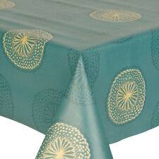 PVC SORRENTO TEAL TABLE CLOTH SPIRAL CIRCLE SWIRL DOTS GREEN GOLD WIPE ABLE