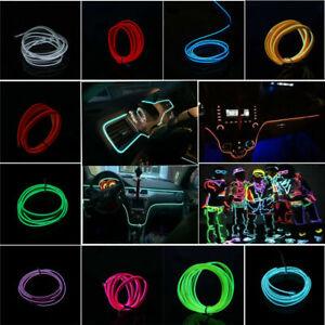 1M EL-Wire 12V Car Interior Decor Fluorescent Neon Strip Cold LED light Lamp