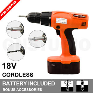 18V Heavy Duty Cordless Drill Driver Bit Kit Hammer Set Power Tool With Battery