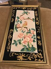 VINTAGE NEEDLEPOINT TAPESTRY BIRDS FRAMED ASIAN