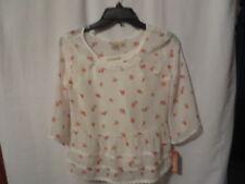 Mudd Floral Chiffon Baby Doll Top w/Attached Cami, 3/4 Sleeve, NWT, Sz. 12