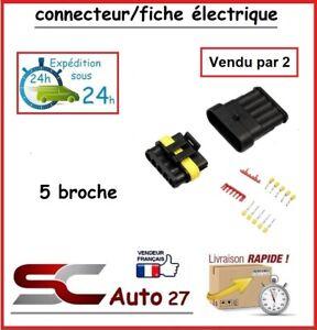 connecteur / fiche électrique étanche pour 5 branchement vendu par deux