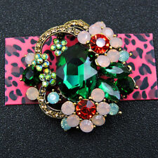 Fashion Green Crystal Enamel Lovely Flower Betsey Johnson Charm Brooch Pin Gifts