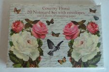 Country Floral 20 Notecard Set W Envelope & 5 Sheets of Wrapping paper Museum Se