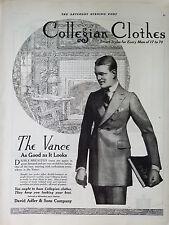 1920 Vintage Collegian Clothes Mens the Vance Suit Coat Fashion Original Ad
