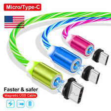 360° Strong Magnetic Flowing LED Micro USB Type C 2.1A Fast Charging Cable Cord
