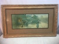 Large Vintage Wood Frame 30in x18in Farrier Horse and Dog Child Home stead  Art