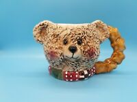 Teddy Bear Coffee Mug Figural Patchwork with Angel Wings 3D Tea Cup 14oz Ceramic
