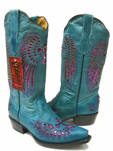 Women's Turquoise Cross Wing Inlay Fuchsia Sequins Leather Cowboy Boots Snip Toe