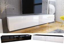 TV Lowboard Schrank Hängeboard Board mit HOCHGLANZ Weiß Eiche 180 cm