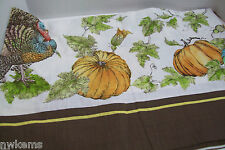 "Pottery Barn Thanksgiving Turkey Pumpkin Cotton Linen Dinner Tablecloth 70""X108"""