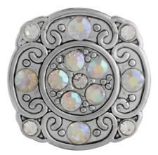 Square Silver Opal Rhinestone 20mm Snap Charm For Ginger Snaps