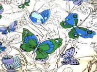 Glentex Vintage Scarf  Womens  Square Scarf Blue Butterflies 1950s