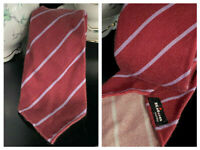KITON NAPOLI MADE IN ITALY 7 SEVEN FOLD BURGUNDY CASHMERE  STRIPED LUXURIOUS TIE