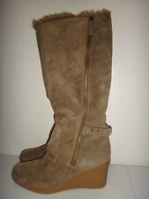NINE WEST Nirella Women's Wedge Winter Boots Taupe Real Suede Faux Fur US Sz 10