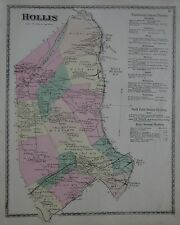Original 1872 School District Map HOLLIS York County Maine Railroad Saco River