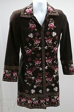 Womens long Jacket Duster coat Brown Velvet embroidered pink flowers Size 2