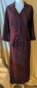 Norton Mcnaughton Womens Size 1/2X Maroon Floral 2 Piece Dress/ Suit LNC