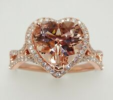 14k ROSE GOLD DIAMONDS AND HEART SHAPE HALO MORGANITE RING