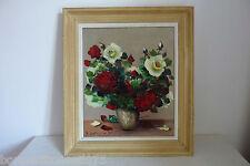 Peinture huile sur toile roses rouges et blanches