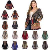 Women Winter Warm Fleece Lined Hooded Jacket Parka Floral Coat Jacket Outwear