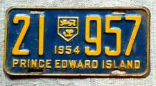 PRINCE EDWARD ISLAND License Plate Tag 1954 PEI - Low Shipping