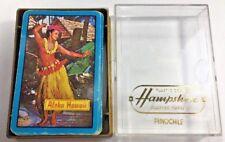 Vintage Pinochle Playing Cards Hawaii & Hawaiian hula Dancing Girl Plastic Case