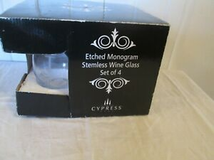 Boxed Set of 4 Stemless Wine Glasses Etched Initial J Cypress Home 16 Oz Clear