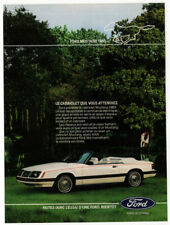 1983 FORD Mustang Convertible Vintage Original Print AD - White car photo French