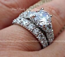 3.50 CT .925 Sterling Silver Round cut Diamond Engagement Ring Wedding Band Set