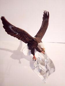 Franklin Mint Weißkopf-Seeadler auf Bleikristallglas-Ständer / Bald Eagle