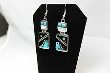 Navajo Night Sky Inlay Drop Earrings