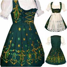 Sz 26 Dirndl German Waitress Oktoberfest Dress Short Green Party EMBROIDERED 3pc